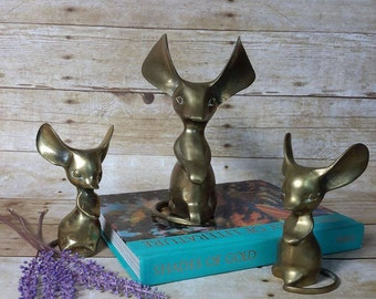 Vintage BRASS MOUSE FAMILY ( Set of 3 )