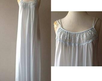 S / Long Pastel Blue Flowy Nylon Nightgown / Small