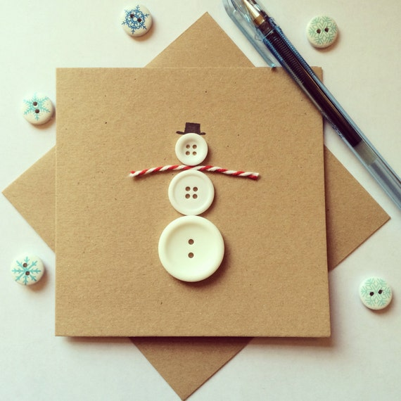 Christmas Snowman Card made from upcycled buttons