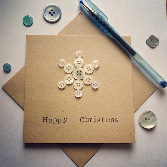 Snowflake Card made from upcycled buttons