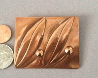 Pedro Pujol Copper Brooch, Leaf and Berry, Signed