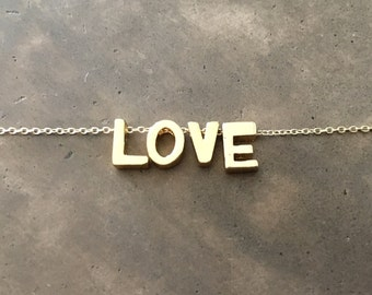 Gold Vermeil LOVE Necklace on a Gold Filled Chain