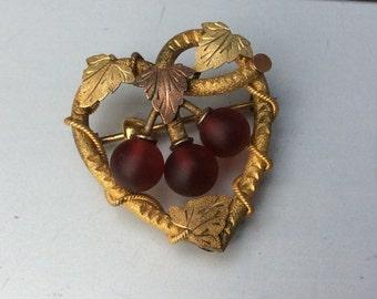 Vintage Grape and Grape Leaves Brooch