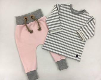 Set baggy pants Sweatshirt stripes pink Gr. 56-92