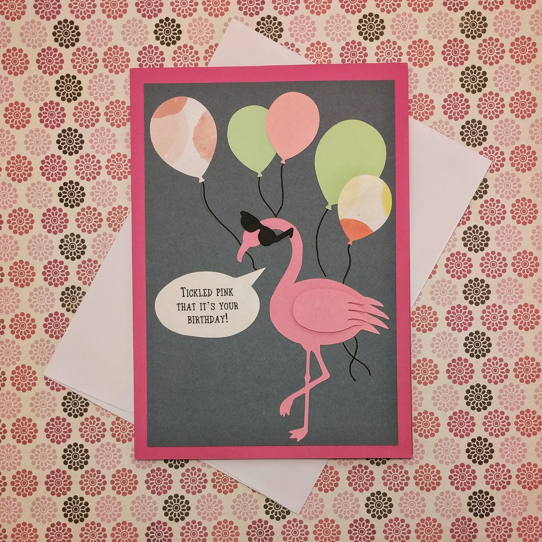Happy Birthday Card Birthday Card Flamingo Birthday Card