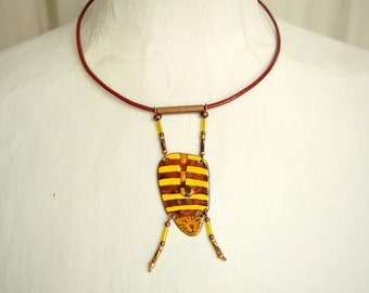 Enamel Necklace, Enamel Pendant, Cat Necklace, Cat Pendant, Cat Shaped Necklace, Enamel Jewelry, Cat Pendant, Boho Jewelry,