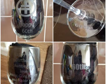 Large personalised wine glasses, for birthdays, anniversary, christmas, anniversary with chocolate in glass