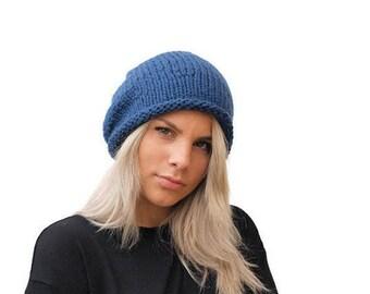 Slouchy hat / Denim Blue chunky slouchy beanie / wool hat / winter accessory / Blue slouchy hat / Wool Women Beanie Hat