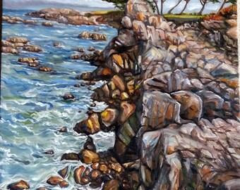 "Original Oil Painting, Rocky Coast, 30""x24"", 1703085"