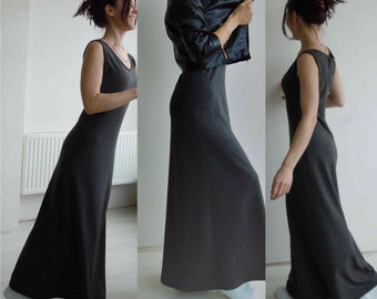 Gray maxi dress/Tank long dress/Sleveless full length dress/Shift dress/Long dress without sleves/Casual maxi dress/Cotton knit dress