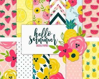 Hello Summer Digital Paper Pack | Scrapbook Paper | Printable Background | 12 JPG, 300dpi files.
