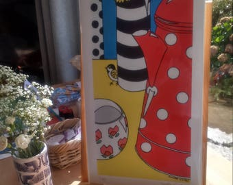 Vbrant and bold illustrative still-life. Small Limied Edition Giclee print from an original acrylic painting
