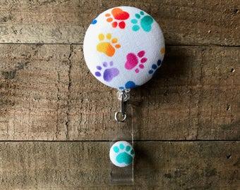 Retractable ID/Badge Holder-Fabric Badge Reel-Retractable Badge Reel-Badge Reel-ID Badge Holder-Nurse Gift-Rainbow Paw Prints