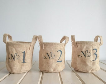 Set of 3 Burlap Numbered totes FREE SHIPPING