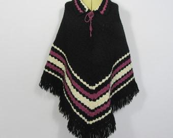 1970's Boho Hippy Black Mauve & Cream Wool Crochet PONCHO-8/10/12