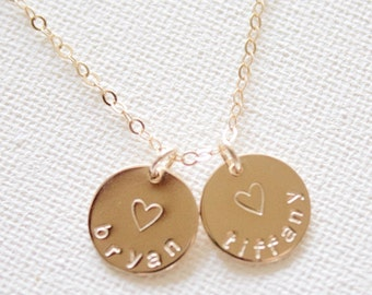 Engraved Disc Necklace//Personalized Name Necklace//Wedding Party Gift//Custom Initial Disc Necklace// Gold Fill, Rose Gold, Sterling Silver