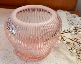 Vintage Fenton Vase, Ribbed Opalescent,Signed, 1980s,  Pink, Mothers day Gift, Gift for Her, Birthday Gift, Retro Home Decor, Office Decor