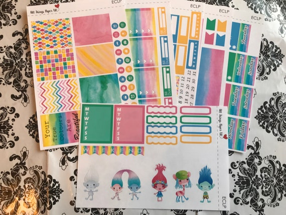 Trolls Design Your Life Planner Stickers