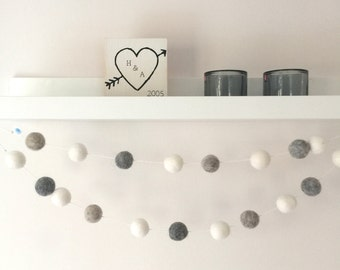 Monochrome Nursery Decor, Felt Pom Garland, Nordic Decor, Felt Ball Garland, Hygge Home, Felt Bunting, Black and White Garland