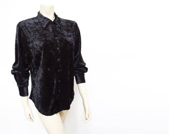 Free Global Shipping* Velvet Blouse, 1990s, Retro Shirt, Black Blouse, Velvet, Vintage Clothing, Retro, Pinup, Boho, Hippie, Hippy