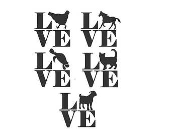 "Pet ""LOVE"" car decal for animal lovers--chicken, horse, turtle, cat, and goat"