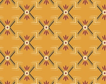 By The HALF YARD - Margo's Mignonettes by Margo Krager  for Andover, Pattern #7917-O Geometric Pattern on Rusty Orange, 1800's Reproduction