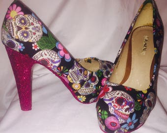 Candy skull Heels / day of the dead * *  * SIZES 3-8