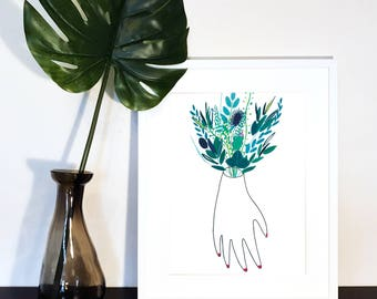 A4 Botanical illustration, print, flowers, foliage