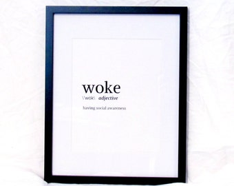 Woke Wall Art Dictionary Definition of Woke Digital Print Resistance Instant Download