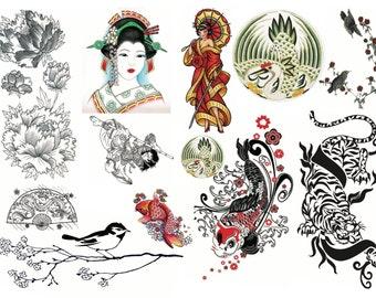 Asian Temporary Tattoos