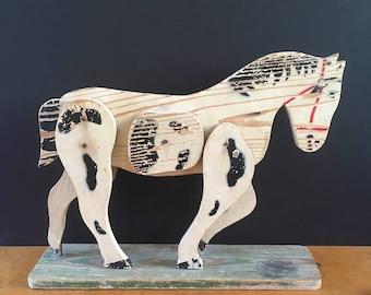 Vintage wooden horse pull toy, painted wood horse, Americana, primitive, folk art