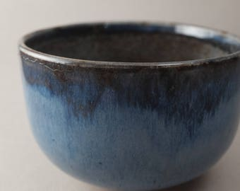Japanese styled Chawan or Matcha Tea Bowl in Blue and Gray Earthenware for Chado Tea Ceremony Study or Powdered Green Tea