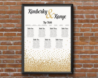 Gold Glitter Wedding Seating Chart Table Plan - Poster Print - Digital Download - Wedding Printable - Table Plan