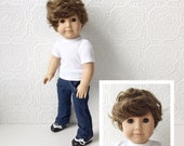 """AG Boy Doll, Deep Brown Eyes with Wavy Brown Hair, One-of-a-Kind Doll Transformed from Pleasant Company Doll, Vinyl Head and Limbs, 18"""" Tall"""