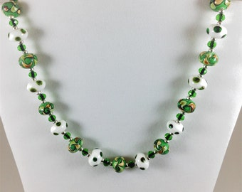 Green and white lampwork bead necklace