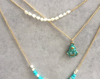 Three strand chain, Buddha charm and freshwater pearls Necklace