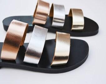 Greek leather sandals / Metallic multi-coloured sandals / Flat leather sandals / Leather slingbacks / Leather slides / Genuine leather
