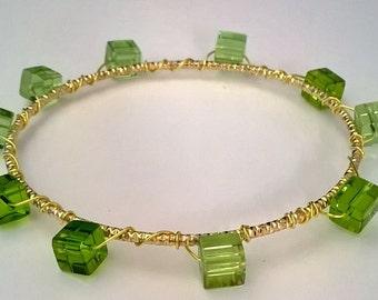 Green Glass Bead Wire Wrap Gold Bangle Bracelet, Bright Green Jewelry, Funky Bracelet, Pretty Bangle, Green and Gold Jewelry, Boho