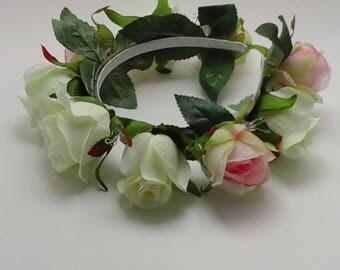flower headband bridesmaids headband flowergirl headband  silk roses head band ivory pink headband silk roses pink silk  ivory silk roses