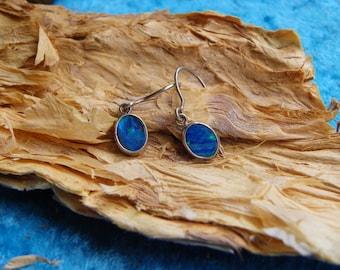 Blue opal earrings (091)