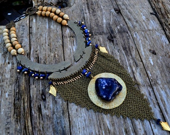 "Ethnic ""Mercury"" Sodalite, lapis lazuli & brass necklace"