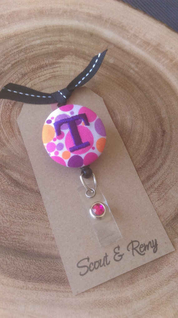 Monogram Badge Reel - Retractable ID Badge Holder - Dots - Pink Purple Orange