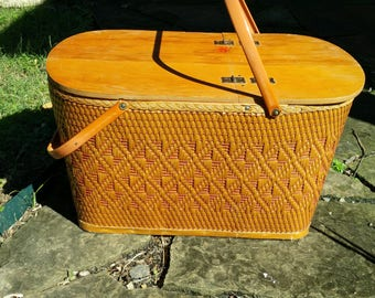 Vintage PICNIC BASKET LARGE Redmond Picnic Hamper Tailgate Basket with Shelf Mid Century Camping or Storage Basket