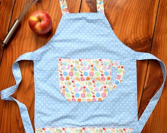 Apron for Kids, Girls Apron, Children's Apron, Toddler Apron, Cotton Apron, Play Kitcen, Play cafe, Blue Aprons with Fruits