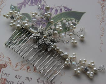 Vintage Marcasite & Faux Pearl Hair Comb, Silver Tone Floral Spray- Wedding, Bridal, Prom Hair Accessories