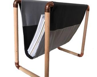 Magazine rack copper wood magazine holder magazine rack, magazine holder magazine storage Interior set decoration DIY