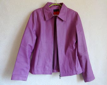 Violet Pig Leather Women's Jacket Full Lining Spring Summer Jacket Long Sleeves Zip Up Front Pockets Size S Stylish Leather Jacket