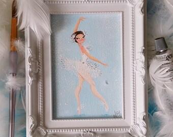 Original White Swan Ballerina Midi Painting