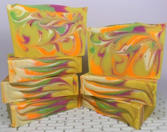 handmade goatsmilk soap-luxury-artisan made-shea&cocoa butter- lemongrass,orange,grapefruit-spring-kaolin clay-yellows,greens- bright colors