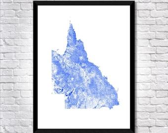 Waterways of Queensland map art   Printable Queensland map print, Queensland print, Queensland poster, Queensland art, Australia map art